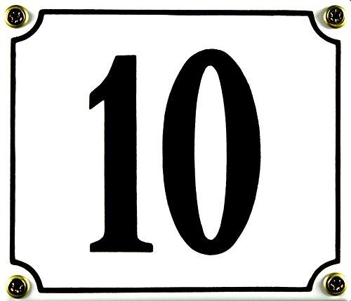 Buddel Bini Wetterfestes Emaille Hausnummernschild 10 12 x 14 cm sofort lieferbar weiß