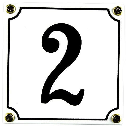 Buddel Bini Wetterfestes Emaille Hausnummernschild 2 12 x 12 cm sofort lieferbar weiß
