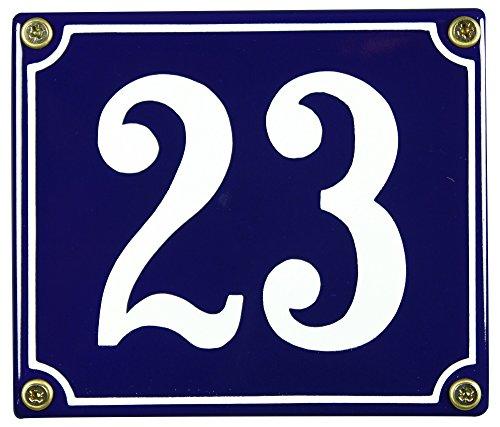 Buddel Bini Wetterfestes Emaille Hausnummernschild 23 12 x 14 cm sofort lieferbar blau