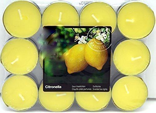 24 Citronella Duftlichter Zitrone Teelichter Outdoor Brenndauer Ca 4h Anti Mücken Kerzen Auch Für Den Garten