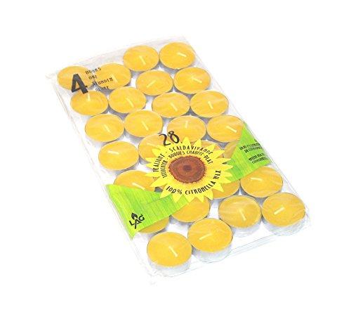 28 Citronella Duftkerzen Brenndauer ca 4h  Durchmesser 38 cm zur Mückenabwehr Teelichter Anti-Mücken-Kerzen Duftlichter Zitrone Outdoor Garten zur Mückenabwehr