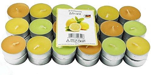 36 Nordlicht - Zitronella Duftlichte Teelichter farbig gemischt Aromatischer Zitronen Duft Anti Mücken Kerzen Duftkerzen Outdoor Kerzen Mückenabwehr