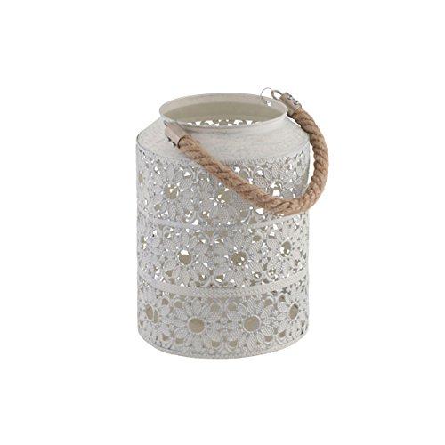 greemotion Metall-Laterne gebürstet Gartenlampe im edlen Blumendesign Windlicht mit praktischem Seilgriff ideal für Kerzen und Teelichter weiß Maße ca Ø 165 x H 22 cm