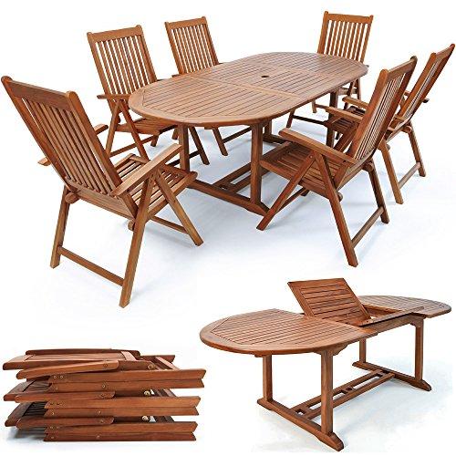 Deuba Sitzgruppe Vanamo 61  6 verstellbaren Stühlen  ausklappbarer Tisch - 2 x 10 m Länge  FSC-zertifiziertes Eukalyptusholz  Modellauswahl 416181  - Sitzgarnitur Gartenmöbel Set