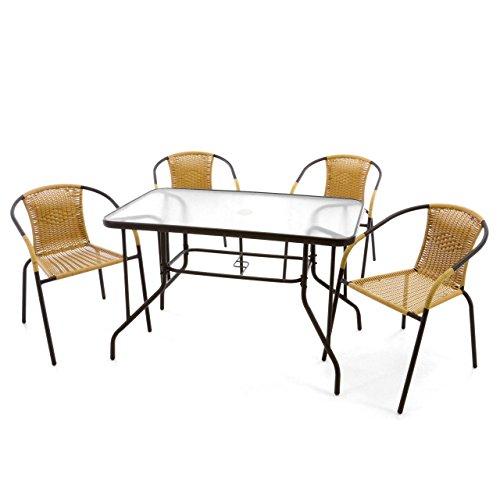 Nexos 5-Teiliges Gartenmöbel-Set – Gartengarnitur Sitzgruppe Sitzgarnitur aus Bistrostühlen Esstisch – Stahl Kunststoff Glas – Beige Dunkelbraun