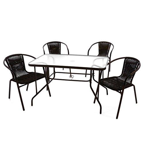 Nexos 5-teiliges Gartenmöbel-Set – Gartengarnitur Sitzgruppe Sitzgarnitur aus Bistrostühlen Esstisch – Stahl Kunststoff Glas – braun Dunkelbraun
