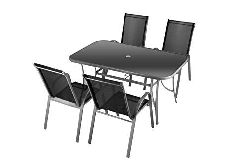 Nexos 5-teiliges Gartenmöbel-Set – Gartengarnitur Sitzgruppe Sitzgarnitur aus Stapelstühlen Esstisch – Aluminium Kunststoff Glas – schwarz grau