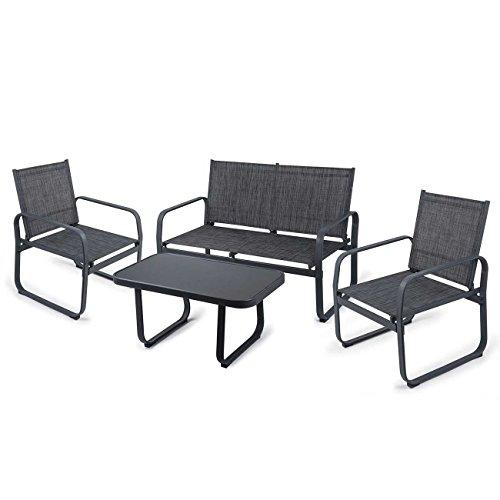 Strattore Gartenset Sitzgruppe Gartenlounge Set Gartenmöbel Loungeset Sitzgarnitur Gartengarnitur Essgruppe mit Glastisch Sitzbank und 2 Stühlen