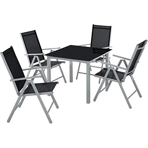 TecTake Aluminium Sitzgarnitur 41 Sitzgruppe Gartenmöbel Tisch Stuhl Set - Diverse Farben - Silber grau  Nr 402169