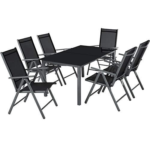 TecTake Aluminium Sitzgarnitur 61 Sitzgruppe Gartenmöbel Tisch Stuhl Set - Diverse Farben - Dunkelgrau  Nr 402166