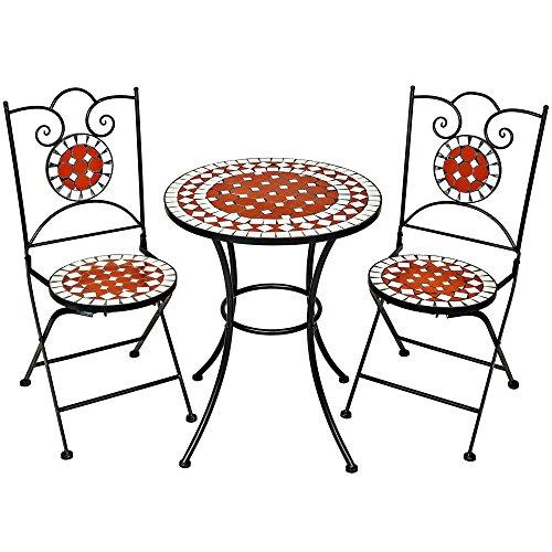 TecTake Robustes und Hochwertiges Mosaik Gartenmöbel Set 2 Stühle und Tisch Terracotta