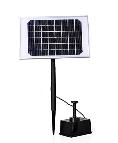 AUFUN 5W Solarpumpe Teich Springbrunnen Teichpumpe Solar Bürstenlose Solarpumpe Akku Solar Wasserspiel Fontäne Pumpe für Gartenteiche