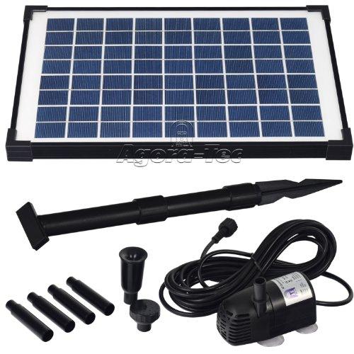 Agora-Tec AT-10W Solar Teichpumpe 10 Watt Hmax 600lh Fontainenhöhe 100m für Gartenteich oder Springbrunnen