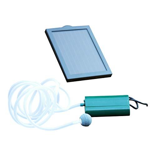 PK Green Solar Teichbelüfter Sauerstoffpumpe  06 W 100 LPH Luftpumpe für Gartenteich  Pumpe für Garten Teich  1 Stein