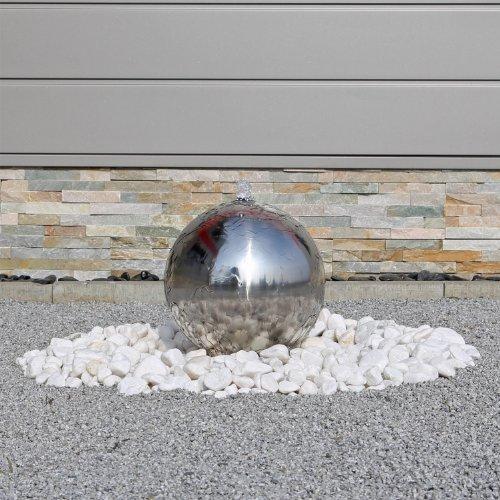 CLGarden Springbrunnen ESB3 aus Edelstahl mit 30cm polierter Edelstahlkugel Kugelbrunnen Kugelspringbrunnen mit LED Beleuchtung