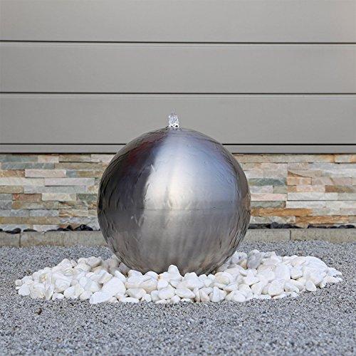 Edelstahl Kugel Springbrunnen ESB4 gebürstet mit 38cm großer Edelstahlkugel Kugelbrunnen mit LED Beleuchtung