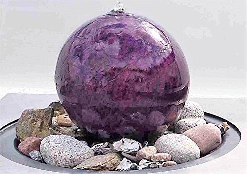 garten-wohnambiente Kugelbrunnen 40 cm Marmor Violette Edelstahl Kugel Wasserspiel