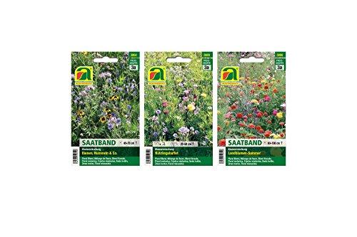 3 Sorten  Blumen Saatband Sortiment  Landblumen-Sommer Saatband  Bienen Hummeln Co Saatband  Nützlingsbuffet Blumenmischung