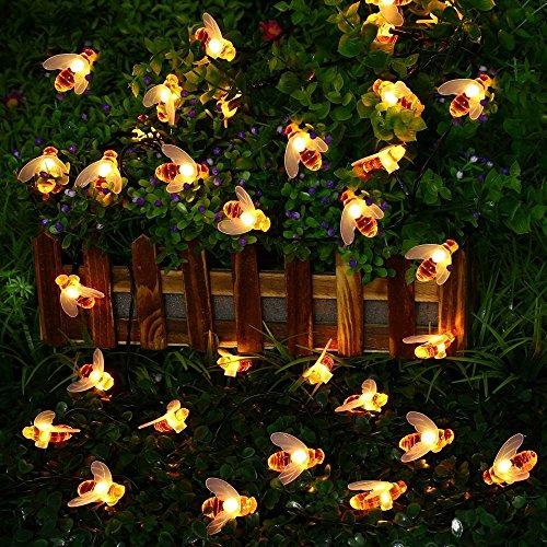 LED Lichterkette Außen SUAVER 30LED Bienen Solar Lichterkette Außen Wasserdichte Solar Beleuchtung dekorative Lichter für Party Weihnachten Außen Hochzeit GartenHausFest Deko Warmweiß