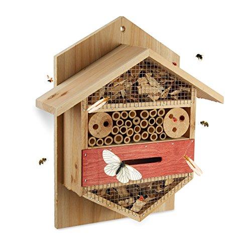 Relaxdays Insektenhotel sechseckige Nisthilfe für Bienen Marienkäfer Garten Balkon HxBxT 335 x 285 x 10 cm natur