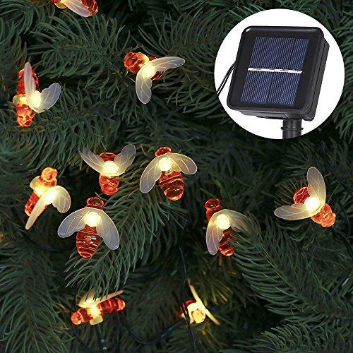Solar Lichterkette Aussen Tomshine Led Solar Bienen Lichterketten im 63 Meter 30er Warmweiß 8 Modi Aussen Solar Lichterkette mit Lichtsensor für Garten Hochzeit Party