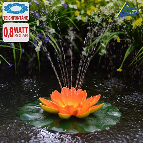 Amur SOLAR SPRINGBRUNNEN SOLARTEICHPUMPEN Set WASSERSPIEL SOLAR TEICHDEKO SCHWIMMEND Lotus-Blume – Orange