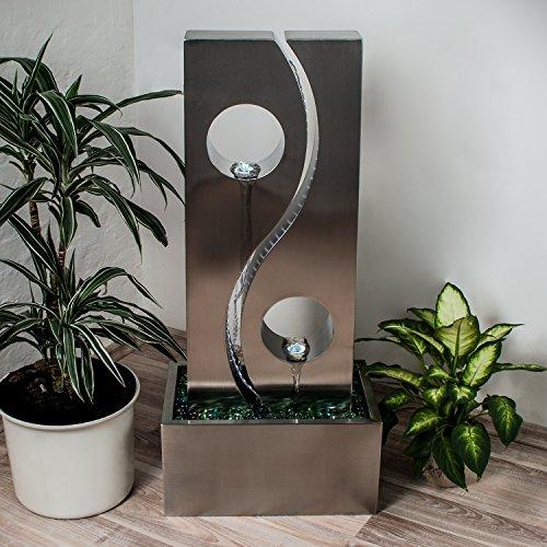 Köhko Wassserwand Yin Yang mit LED-Beleuchtung Höhe ca 90 cm Springbrunnen Wasserspiel mit Edelstahlbecken