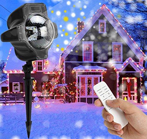 LED Projektionslampe Weihnachten Weihnachtsbeleuchtung Außen Innen Schneefall Effektlicht mit Fernbedienung Timer LED Projektor Lampe IP65 Wasserdicht Weihnachtsdeko Garten Beleuchtung