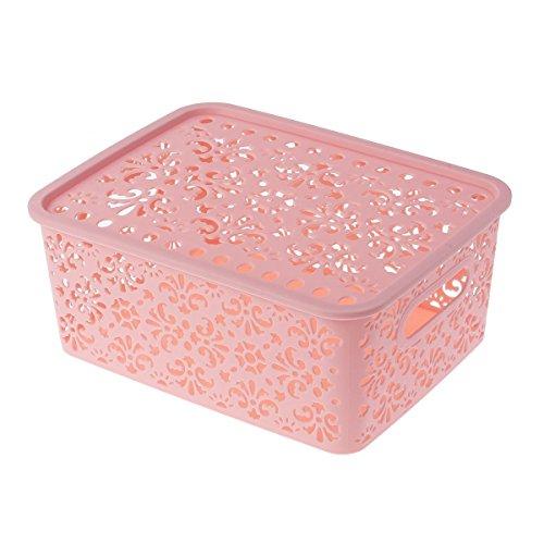OUNONA stapelbar Kunststoff Aufbewahrungsbox Hollow Out Aufbewahrungskorb mit Deckel für Bras Unterwäsche Socken Krawatten Schals und Zubehör Pink