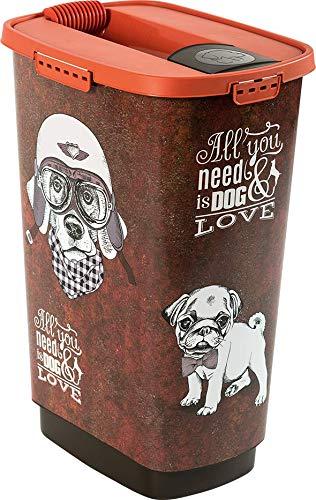 Rotho 4002010533 Aufbewahrungsbox für Tierfutter aus Kunststoff PP - Cody Trockenfutter-Schüttdose 50 l L braunorange