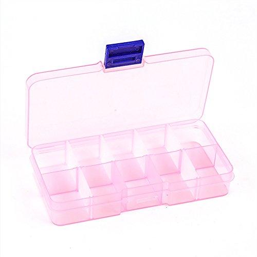 VEVICE Verstellbar 10-CompartmentGrid Slot Kunststoff Aufbewahrungsbox Schmuck Bead Werkzeug Container Organizer Fall Plastik Rose 132  23  72cm