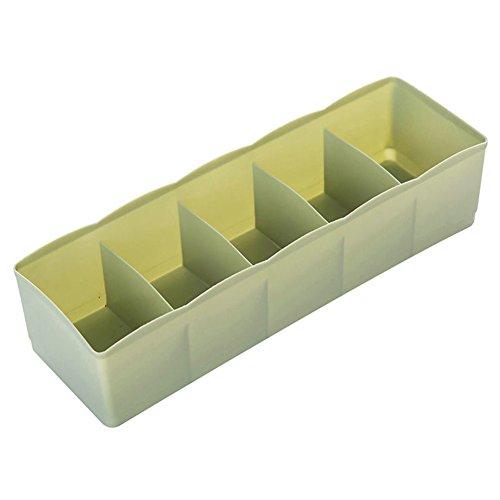 bismarckbeer Kunststoff-Aufbewahrungsbox mit 5 Einteilungen für Krawatten Socken Kosmetik Schubladen-Teiler organisierte Aufbewahrung plastik dunkelgrün Einheitsgröße