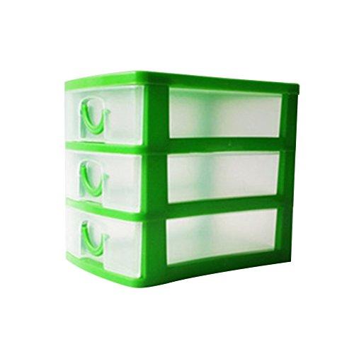 Jancery Desktop 3drawers klein Kunststoff Aufbewahrungsbox Schublade Tower Organizer für Schulen Büros und Spielzeuge Plastik grün 13  9  115CM