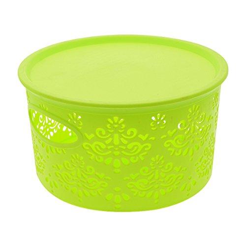 Saim Kunststoff rund Blume Hohl Muster Haushalt Aufbewahrungsbox Organizer Container Mit Deckel grün