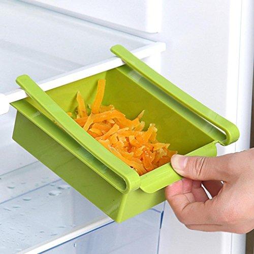 Wokee Kühlschrank Aufbewahrung Kühlschrank Lagerung Organizer Kühlschrank Regal Storage Rack Aufbewahrungsbox Lebensmittelbehälter Küche Werkzeuge Fruit Küche sammeln Box 1 Stück zufällige Farbe Grün