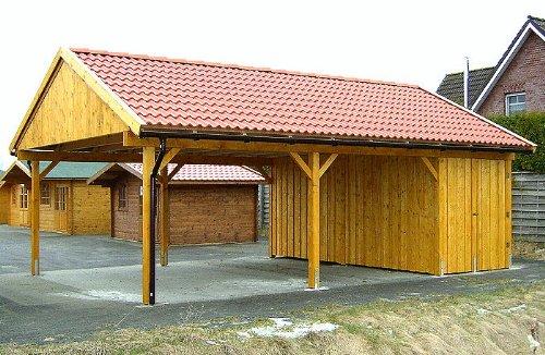 Carport Satteldach LAS VEGAS 600x800cm Geräteraum - Holz Leimbinder