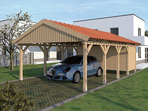 Carport Satteldach Monaco XIV 500cm x 800cm mit Geräteraum