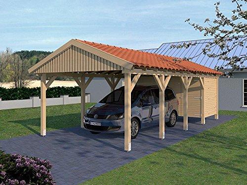 Carport Satteldach Monte Carlo X 400cm x 800cm mit Geräteraum
