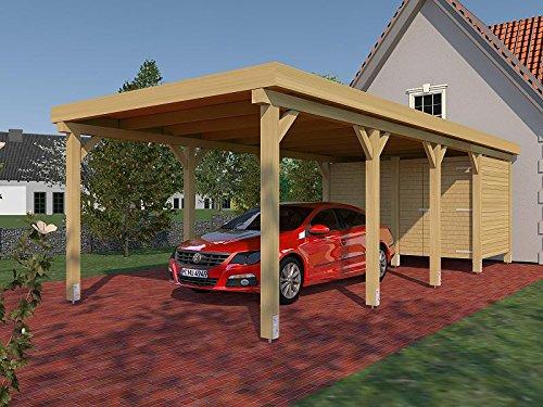 Carport Flachdach AVUS XXII 350 cm x 800 cm KVH mit Geräteraum