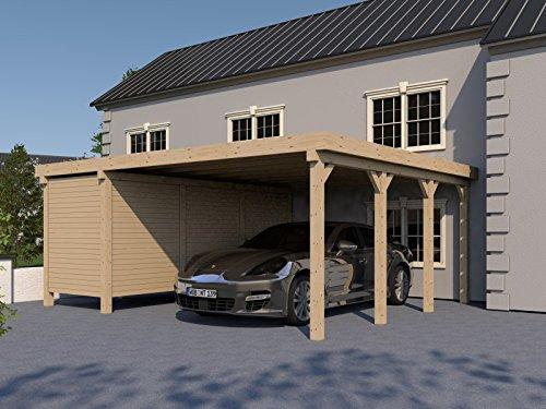 Carport Flachdach MONTREAL XXI 600x600 cm mit Geräteraum Flachdachcarport