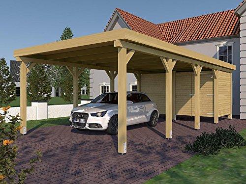 Carport Flachdach Valencia II 400 cm x 800 cm mit Geräteraum