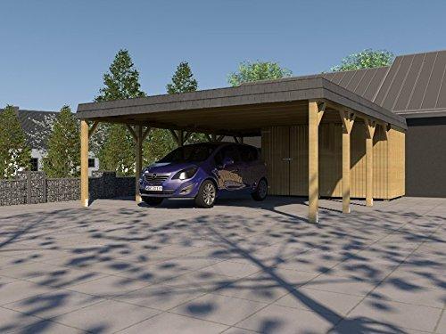 Doppel Carport Walmdach SAUERLAND VI - 700 x 800cm Carport  Geräteraum Walmdachcarport