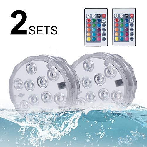 Unterwasser Licht Kolpop LED Teichbeleuchtung mit Fernbedienung Batteriebetriebenes 16 RGB Farbwechsel IP68 Wasserdichtes Licht für SchwimmbadTeich  BadezimmerSpa Whirlpool