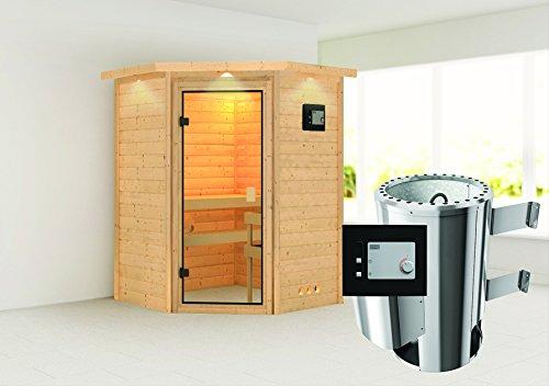 Alicja - Karibu Sauna Plug Play inkl 36 kW-Ofen - mit Dachkranz -