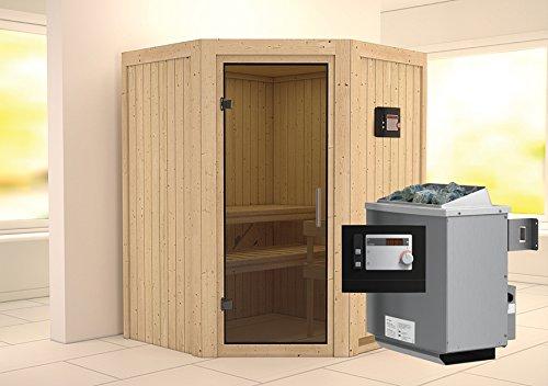 Karibu Sauna Larin inkl 9-kW-Ofen mit externer Steuerung ohne Dachkranz mit moderner Saunatür