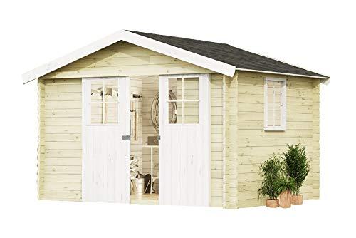 Alpholz Gartenhaus EVERE aus Fichten-Holz  Gartenhütte mit Dachpappe  Geräteschuppen naturbelassen ohne Farbbehandlung 330 x 270cm