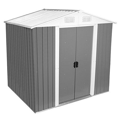 Zelsius - Gerätehaus Geräteschuppen mit Giebeldach 204 x 130 cm hellgrau