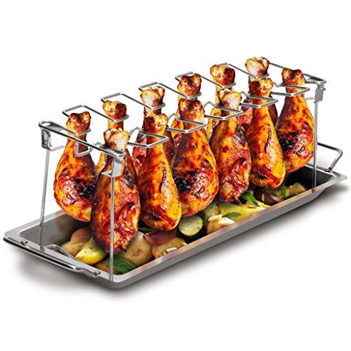 Grill Republic Premium Hähnchen-Halter BBQ-Rack I Hähnchenschenkelhalter aus Edelstahl für bis zu 12 Keulen l Platzsparendes Grillzubehör als optimales Geschenk für Grillfans