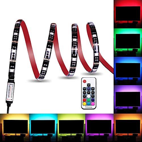 LED Lichtstreifen wasserdicht USB betrieben 5V 5050 RGB Schwarz 2m 60 LEDs flexibles Band mit RF Fernbedienung für TV Hintergrundbeleuchtung PC Gehäuse Schreibtisch LKW Unterschrank 2M