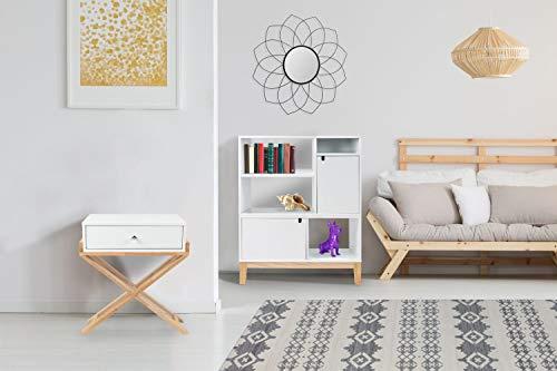 One Couture NACHTTISCH SCHRÄNKCHEN KLEIN FLACH Schrank Scandi SKANDINAVISCH Design WEIß Holz